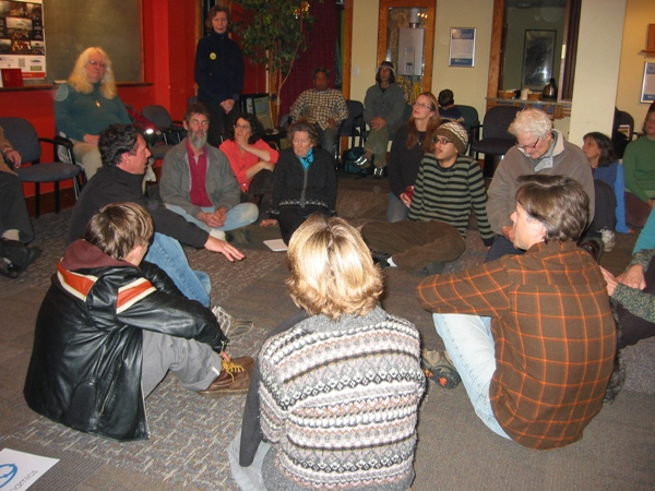 Figure 3: Tim (on left in black shirt and blue pants) at workshop in Bellingham, Washington, USA, Feb. 2013