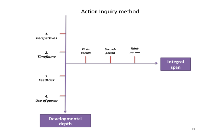 Figure 3. Action Inquiry Method. This illustrates the dialectic nature of the method that acknowledges the variety of motivations, developmental and non-developmental, that may influence any action.