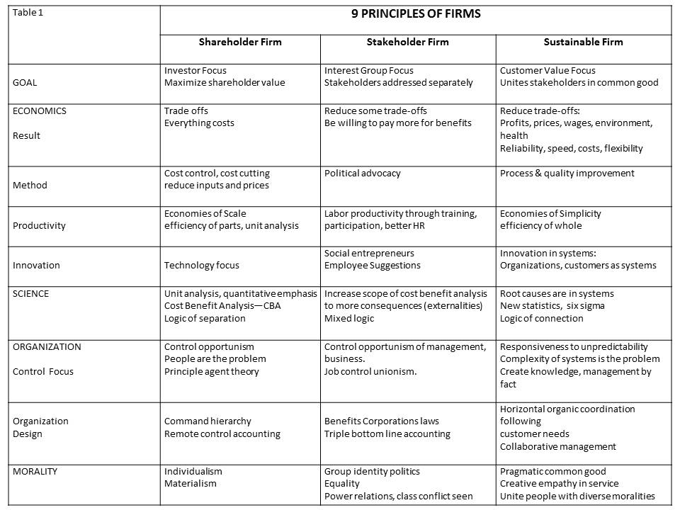 Table 1. 9 principles that define firms.