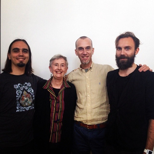 Left to Right: Eugene Pustoshkin, Marilyn Hamilton, Alexander Nariniani, Dmitry Baranov (at Marilyn's presentation of Integral City in Moscow, May 2014)