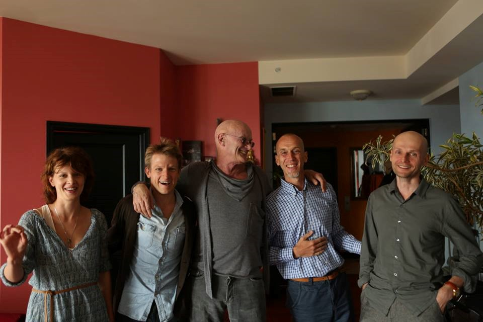 Left to Right: Karolina Gruszka (actress), Cazimir Liske (actor), Ken Wilber (Integral philosopher), Alexander Nariniani (Integral publisher), Ivan Vyrypaev (playwright)—during a visit to Ken Wilber's Loft in August 2013